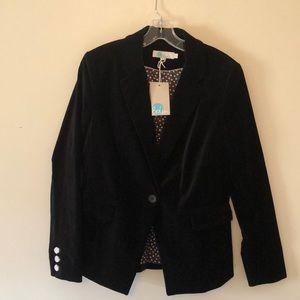 Boden Stretch Velvet Black Blazer Size 8 NWT
